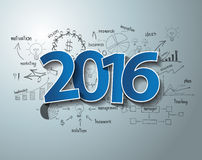 De vector blauwe markeringen etiketteren de tekstontwerp van 2016 op het plan van de bedrijfssuccesstrategie Stock Foto