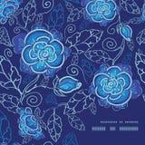De vector blauwe nacht bloeit het patroon van de kaderhoek Stock Afbeelding