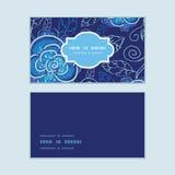De vector blauwe nacht bloeit horizontaal kaderpatroon Stock Afbeelding