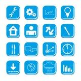 De vector blauwe pictogrammen van de kleurenwebsite Stock Fotografie