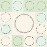 De vector bloeit cirkel en kaders Stock Fotografie