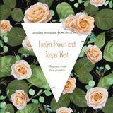 De vector bloemenkaart van de waterverfgroet, huwelijksuitnodiging Peac Royalty-vrije Stock Afbeeldingen