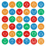 De vector boven en beneden pijlen op cirkel kleurt knopen De download uploadt symbolen Royalty-vrije Stock Afbeelding