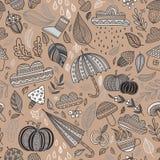 De vector bruine achtergrond van het de herfst naadloze patroon Stock Foto's