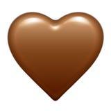 De vector bruine glanzende bonbon van het chocoladehart Geïsoleerdj op witte achtergrond royalty-vrije illustratie