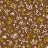 De vector bruine hand getrokken bloemen herhalen patroon Geschikt voor giftomslag, textiel en behang stock illustratie