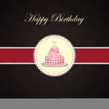 De vector cake van de Verjaardag in uitnodigingskaart Stock Foto