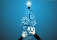 De vector creatieve ideeën van de zakenmanbrainstorming met de radertjes vlak ontwerp van bolhersenen vector illustratie