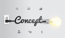 De vector creatieve inspiratie van het gloeilampenidee concep vector illustratie
