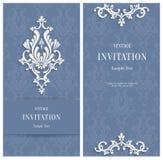 De vector 3d Achtergrond van Grey Floral Malplaatje voor Huwelijk of Uitnodigingskaarten Stock Foto