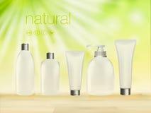 De vector 3D illustratie met groene cosmetische productadvertenties, het make-upmalplaatje, de huid en de lichaamsverzorging rome Royalty-vrije Stock Afbeeldingen