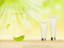 De vector 3D illustratie met groene cosmetische productadvertenties, het make-upmalplaatje, de huid en de lichaamsverzorging rome Royalty-vrije Stock Foto