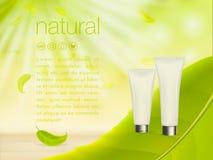 De vector 3D illustratie met groene costemic productadvertenties, het make-upmalplaatje, de huid en de lichaamsverzorging romen l Royalty-vrije Stock Afbeelding