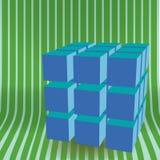 De vector 3D illustratie van het kubusblok Stock Afbeelding