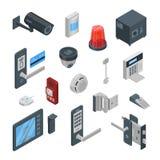 De vector 3d isometrische pictogrammen van huisveiligheidssystemen en ontwerpelementen Slimme technologieën, veiligheidshuis, con vector illustratie