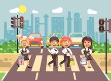 De vector de karakterskinderen van het illustratiebeeldverhaal, de regels van het nalevingsverkeer, de jongens en de klasgenoten  vector illustratie