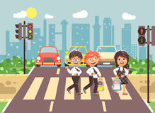 De vector de karakterskinderen van het illustratiebeeldverhaal, de regels van het nalevingsverkeer, de jongens en de klasgenoten  stock illustratie