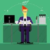 De vector de zakenman denkt het werk aan brede wereld met het werkplaatsen en document vooraanzicht Stock Afbeelding