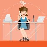 De vector de zakenman denkt het werk aan brede wereld met het werkplaatsen en document vooraanzicht Royalty-vrije Stock Afbeeldingen