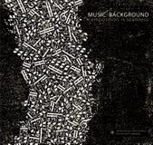 De vector donkere achtergrond van de grunge naadloze muziek Royalty-vrije Stock Afbeeldingen