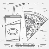 De vector dunne pizza, de hotdog en de hamburger van het lijnpictogram Voor Web desig Stock Foto's