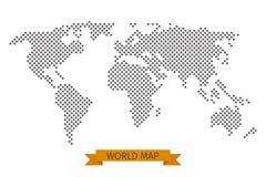 De vector dwarspunt van de wereldkaart Stock Fotografie