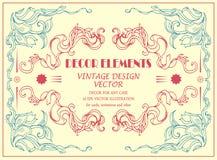 De vector elegante elementen van de decortekening voor kaart, plaats, uitnodiging Royalty-vrije Stock Foto