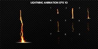 De vector explodeert Explodeer effect animatie met rook De kaders van de beeldverhaalexplosie Sprite-blad van explosie royalty-vrije illustratie