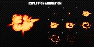 De vector explodeert Explodeer effect animatie met rook De kaders van de beeldverhaalexplosie Sprite-blad van explosie stock illustratie