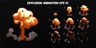 De vector explodeert Explodeer effect animatie met rook De kaders van de beeldverhaalexplosie Sprite-blad van explosie vector illustratie