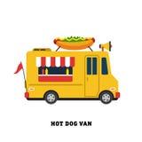 De vector geïsoleerde illustratie van het aanhangwagen snelle voedsel Royalty-vrije Stock Foto's