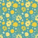 De vector gele geschilderde hand bloeit naadloos patroon op blauwe turkooise achtergrond royalty-vrije illustratie