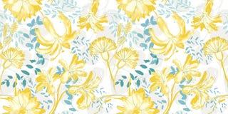 De vector gele getrokken hand bloeit naadloos geworpen patroon op witte achtergrond stock illustratie