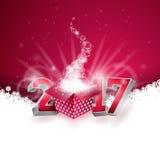 De vector Gelukkige achtergrond van de Nieuwjaar kleurrijke viering met de glanzend 3d teksten van 2017 en giftvakje Stock Foto
