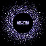 De vector Gelukkige Achtergrond van de Nieuwjaar 2018 Kaart Violet Bright Disco Lights Halftone-Cirkelkader stock illustratie