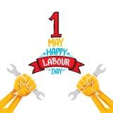 De vector gelukkige affiche van de arbeidsdag Stock Foto