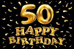 De vector gelukkige gouden ballons van de verjaardags 50ste viering en de gouden confetti schitteren 3d Illustratieontwerp voor u royalty-vrije illustratie