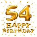 De vector gelukkige gouden ballons van de verjaardags 54ste viering en de gouden confetti schitteren 3d Illustratieontwerp voor u royalty-vrije illustratie