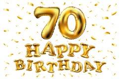 De vector gelukkige gouden ballons van de verjaardags 70ste viering en de gouden confetti schitteren 3d Illustratieontwerp voor u royalty-vrije illustratie