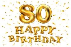 De vector gelukkige gouden ballons van de verjaardags 80ste viering en de gouden confetti schitteren 3d Illustratieontwerp voor u royalty-vrije illustratie