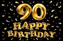 De vector gelukkige gouden ballons van de verjaardags 90ste viering en de gouden confetti schitteren 3d Illustratieontwerp voor u royalty-vrije illustratie
