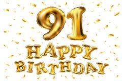 De vector gelukkige gouden ballons van de verjaardags 91ste viering en de gouden confetti schitteren 3d Illustratieontwerp voor u stock illustratie