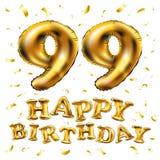 De vector gelukkige gouden ballons van de verjaardags 99ste viering en de gouden confetti schitteren 3d Illustratieontwerp voor u vector illustratie