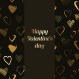 De vector Gelukkige kaart van de Valentijnskaartendag met het kalligrafische patroon van borstelharten Royalty-vrije Stock Afbeeldingen