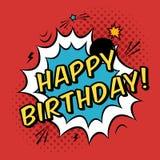 De vector Gelukkige kaart van de Verjaardagsgroet in grappige boekstijl Stock Foto's