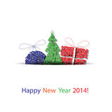 De vector gelukkige nieuwe achtergrond van de jaardecoratie Stock Foto's