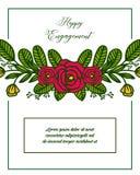 De vector gelukkige overeenkomst van illustratie diverse kaart met het kader van de decoratiebloem royalty-vrije illustratie