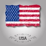 De vector geometrische veelhoekige vlag van de V.S. Stock Afbeelding