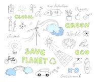 De vector geplaatste elementen van ecologiekrabbels Stock Foto's