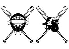 Het masker en de knuppels van de helm Stock Afbeelding
